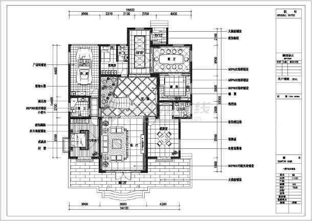 某全套三层别墅装修cad施工图纸