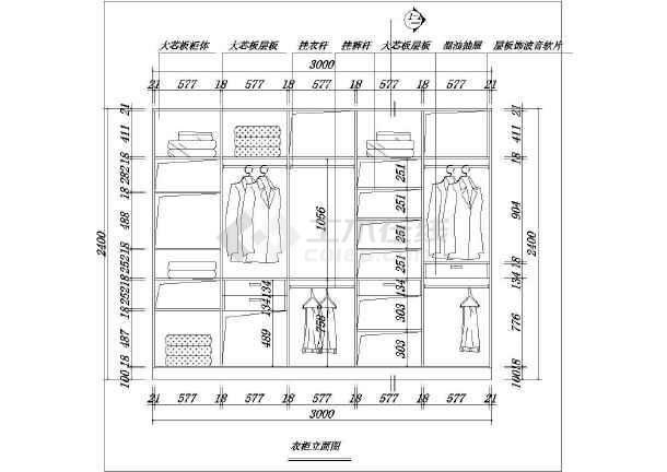 某地中海风格别墅主卧衣柜装修设计详图