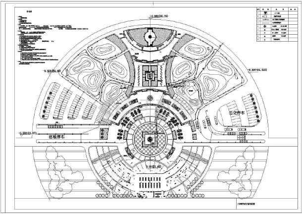 圆形广场电气设计cad施工平面图纸