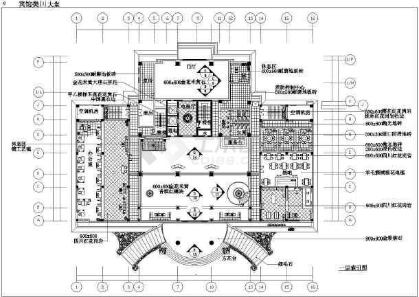 某地区欧式酒店大堂平面设计cad图图片2
