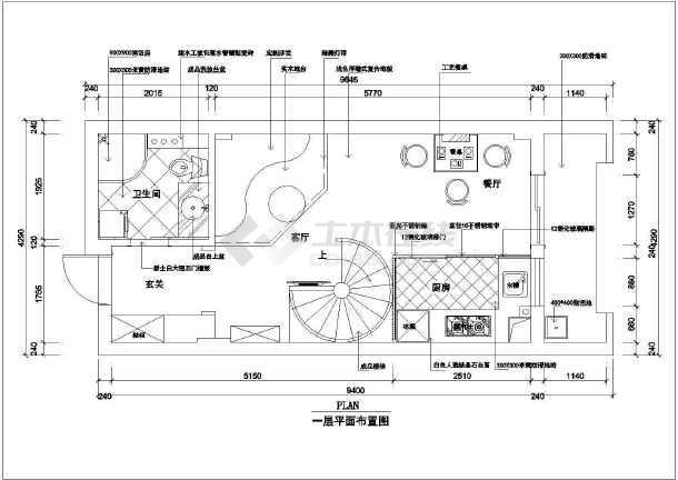 某国际小区单身公寓室内装修cad施工图