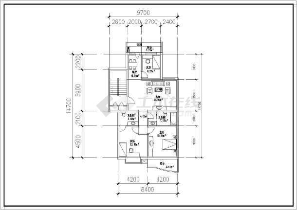 某城市多层住宅楼建筑户型cad设计图