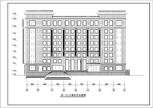 某石材办公楼建筑干挂图纸幕墙v石材图纸银行tgj钢构方案图片