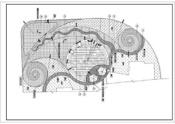 住宅小区广场道路铺装及景观绿化cad施工设计图图片