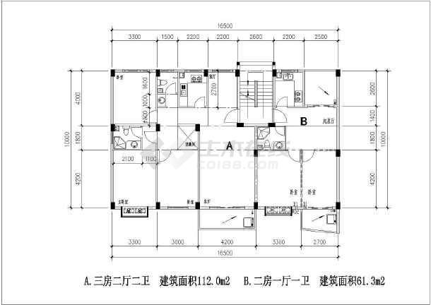 某花园多层住宅户型图设计平面图方案