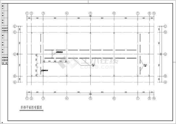钢结构车库cad施工图-图1