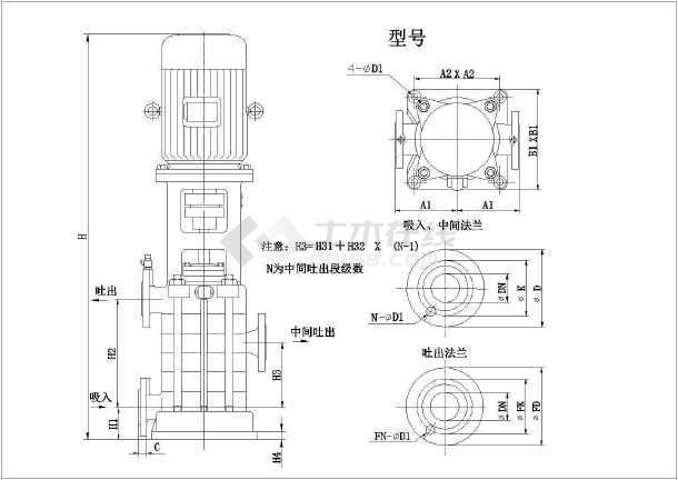某最新水泵的各种样式CAD设计详图-图2