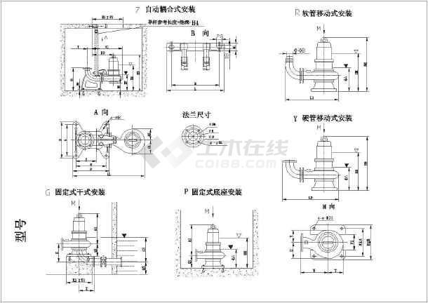 某最新水泵的各种样式CAD设计详图-图3