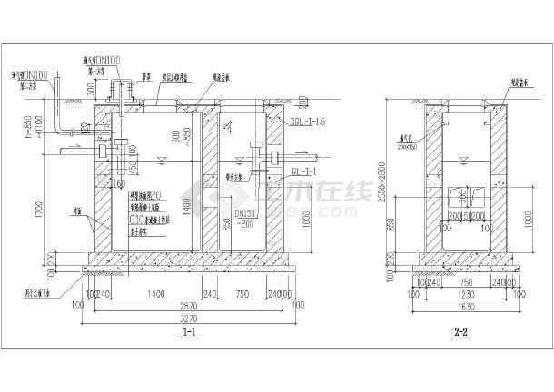 某市混凝土小型化粪池施工设计CAD图-图1