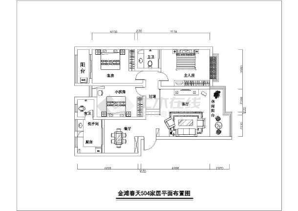 某三室两厅两卫户型室内装修cad平面设计图