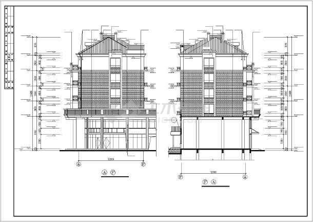 两套别墅建筑施工图立平剖面图图纸