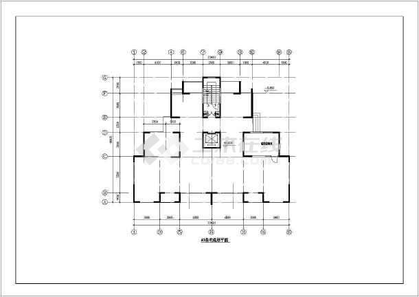某一梯两户高层住宅户型cad平面装修施工设计图
