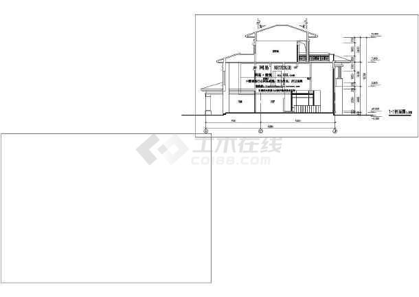 某地区某别墅平立剖面图cad设计图纸