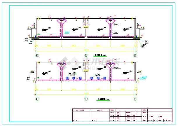 某1万吨污水处理厂工艺高程及各工艺单元图纸-图1