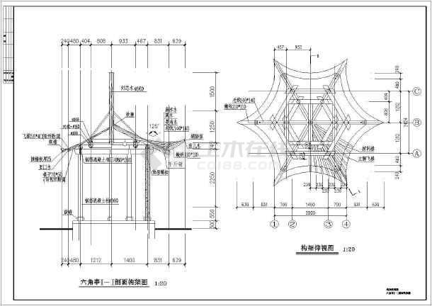 某公园木结构六角亭建筑结构设计施工图