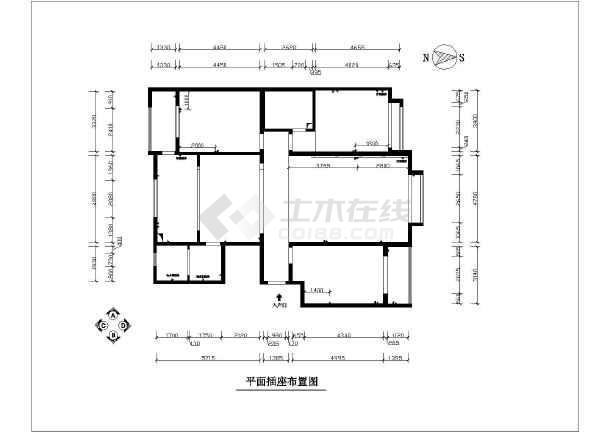 3室两厅户型图整套CAD装修设计方案图纸