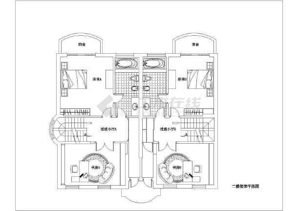 某独栋别墅全套平立面cad装修设计施工图