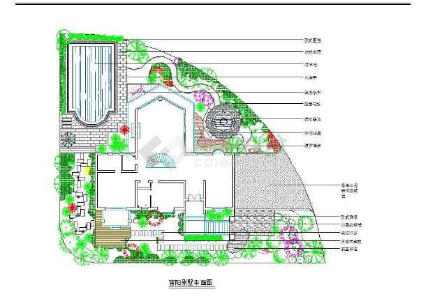 [cad平面图]某地别墅景观设计cad平面图 - 土木在线