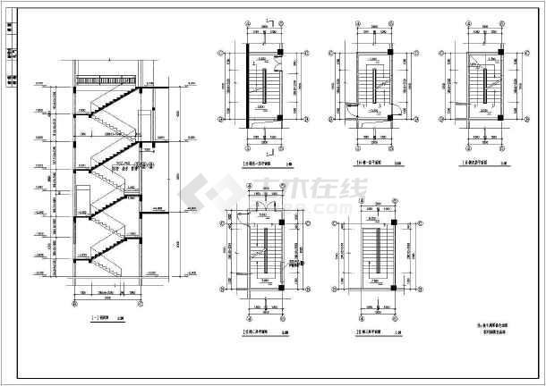 某社区中心三层楼梯建筑设计节点详图-图1