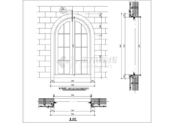 别墅门窗装饰洞口石材建筑设计CAD施工图cad切剖面地形图图片