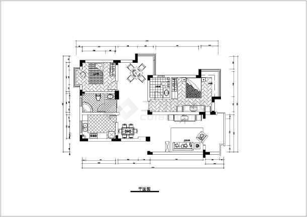 某两室一厅住宅装修cad施工图-图2