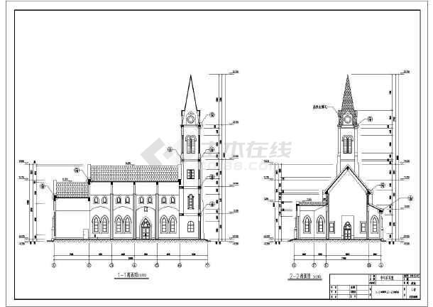 某地区教堂全套建筑设计及规划cad施工方案图,其中包含立面图;平面图