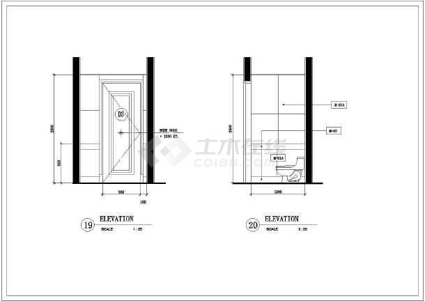 某地区卫生间装修下载v图纸图纸(木工)图纸竣工家具全套图片
