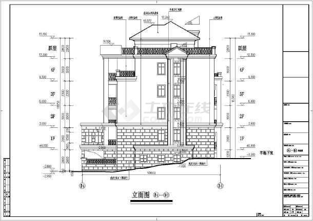 某地区四层花园洋房建筑cad设计施工图-图2