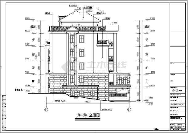 某地区四层花园洋房建筑cad设计施工图-图3