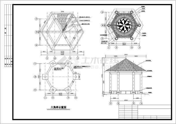 某园林亭子cad施工图-图2