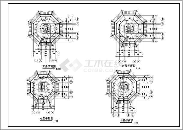 古代建筑七层塔cad结构施工设计图纸范例
