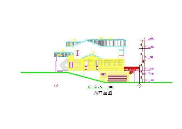 三层小水泥模型CAD图纸结构设计图纸路面混凝土别墅图片