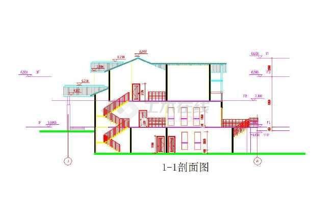 三层小模型基础CAD图纸别墅笼子图纸钢筋图片