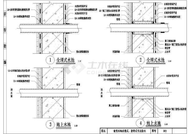 某室内水池防水装修设计cad施工图纸