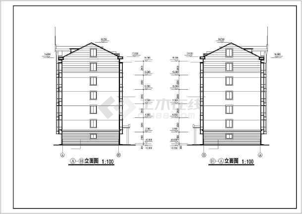 六层多层住宅建筑图立面平剖面图纸