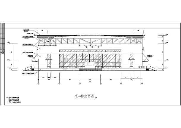 陕西体育馆CAD整套建筑施工图纸度图纸90cad弯头图片