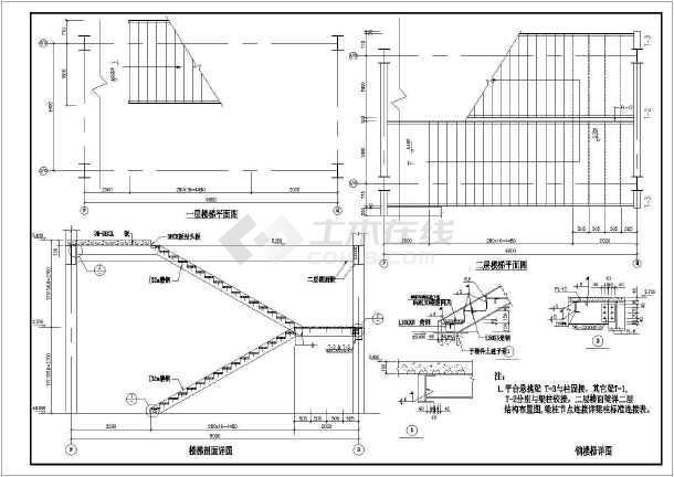 三层厂房钢结构框架详细cad施工图纸