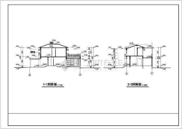 某地全套欧式别墅别墅v全套二层建筑施工图一期方案柯桥香山图片