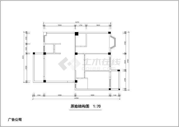 两居家装设计裕锦园家居cad方案平面布置施工图-图1