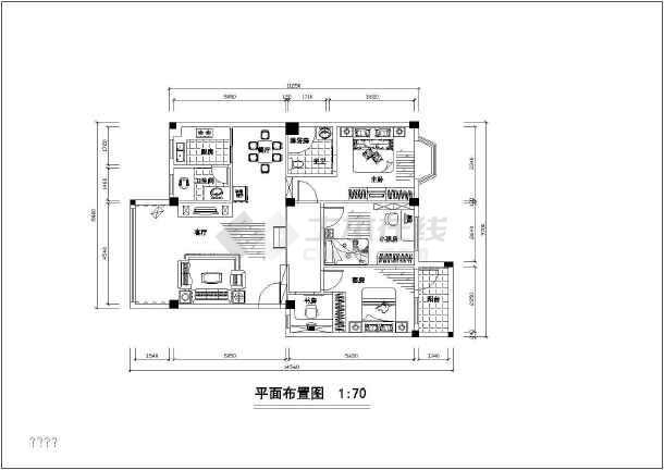 两居家装设计裕锦园家居cad方案平面布置施工图-图3