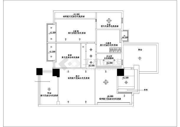 某花园住宅户型室内装修CAD施工图纸-图3