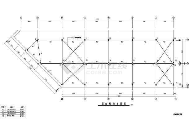 某三层厂房钢结构框架cad施工图纸