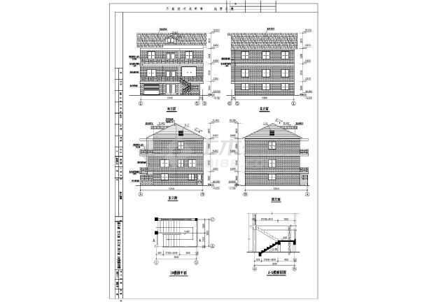 某三层纸箱图纸建筑的静压cad详细设计施工私宅高图结构别墅长宽图片
