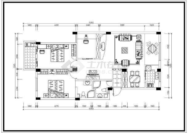 高层家居室内装修设计cad平面布置图