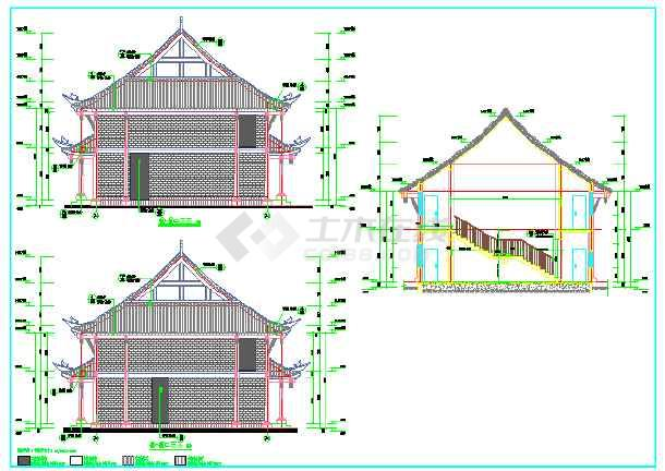 某地区大型仿古建筑施工设计图(含效果图)图片