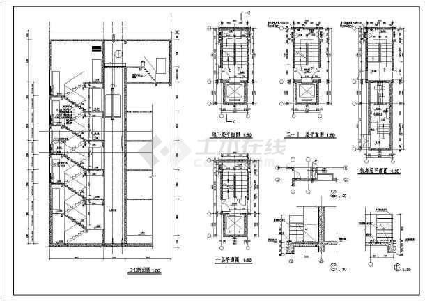 某详细设计楼梯大样和门窗大样图纸-图2