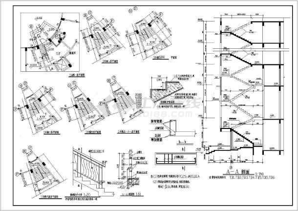 某商住楼楼梯cad大样装修设计施工图纸-图1