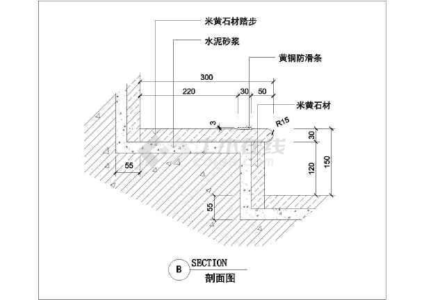 某豪宅内楼梯设计详细cad施工图纸-图2
