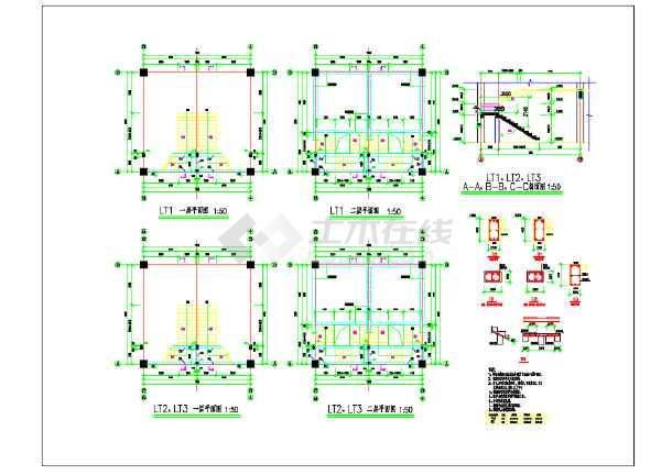 某电脑C-3跑折梁楼梯结构设计施工图_cad图纸画cadv电脑工程图纸图片