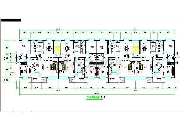 某小区多层一梯两户住宅建筑设计平面图